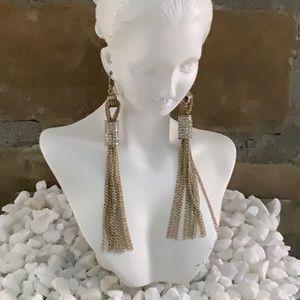 Long Gold CZ Tassel Earrings